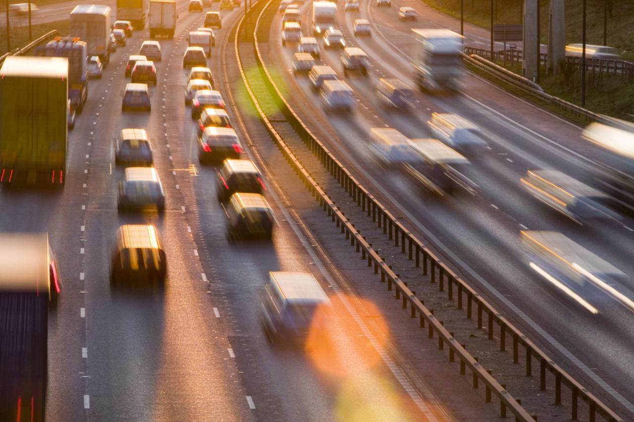Traffic on M60 motorway near Manchester, UK